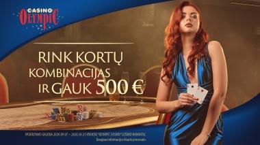 Rink kortų kombinacijas ir gauk 500 EUR!